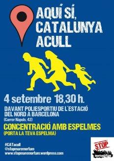 Aquí sí, Catalunya Acull. Concentració amb espelmes