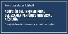 Adopció de l'informe final de l'Examen Periòdic Universal a Espanya
