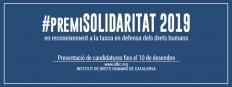 Abierta la convocatoria para enviar candidaturas al Premi Solidaritat 2019