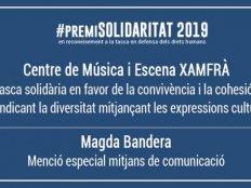 Entrega del Premi Solidaritat 2019 y de la Mención Especial Medios de Comunicación
