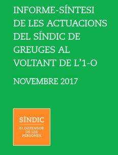 Presentación del Informe de las actuaciones del Síndic de Greuges en torno al 1-O