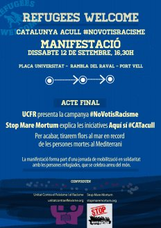 Manifestació Refugees welcome - Catalunya acull #NoVotisRacisme