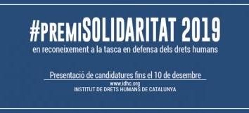Oberta la convocatòria per enviar candidatures al Premi Solidaritat 2019