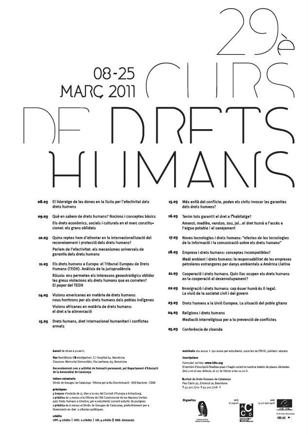 29è Curs Anual de Drets Humans