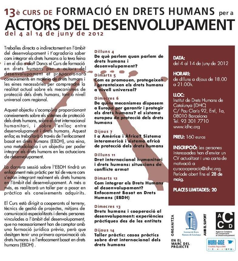 13è Curs de Formació en Drets Humans per a Actors del Desenvolupament