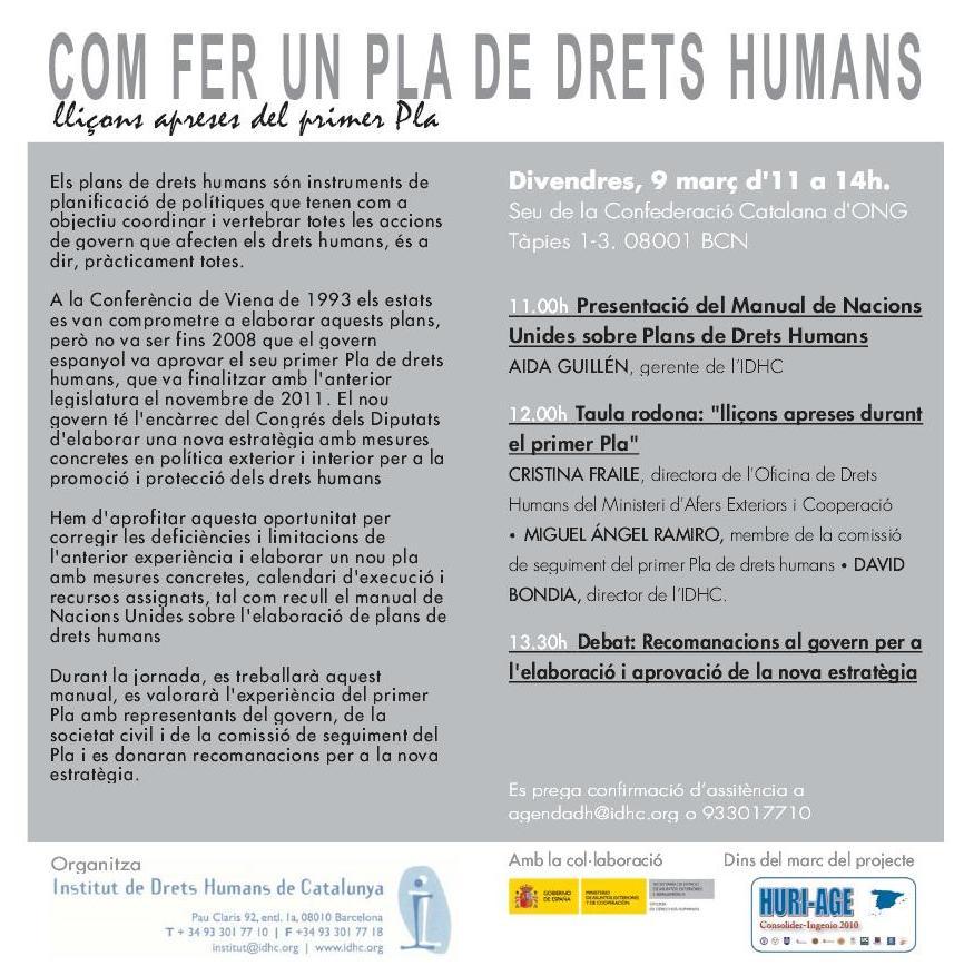 Jornada sobre com fer un Pla de Drets Humans: Lliçons apreses del primer Pla
