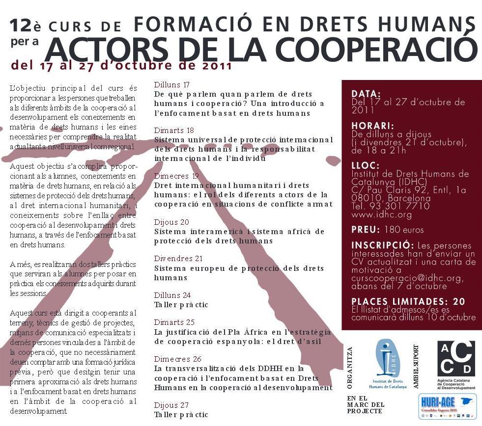 12è Curs de Formació en Drets Humans per a Actors de la Cooperació
