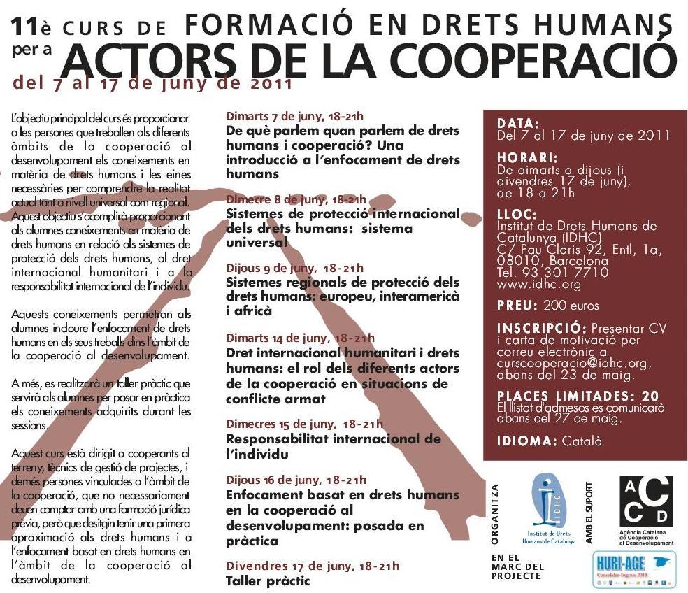 11º Curso de Formación en Derechos Humanos para Actores de la Cooperación