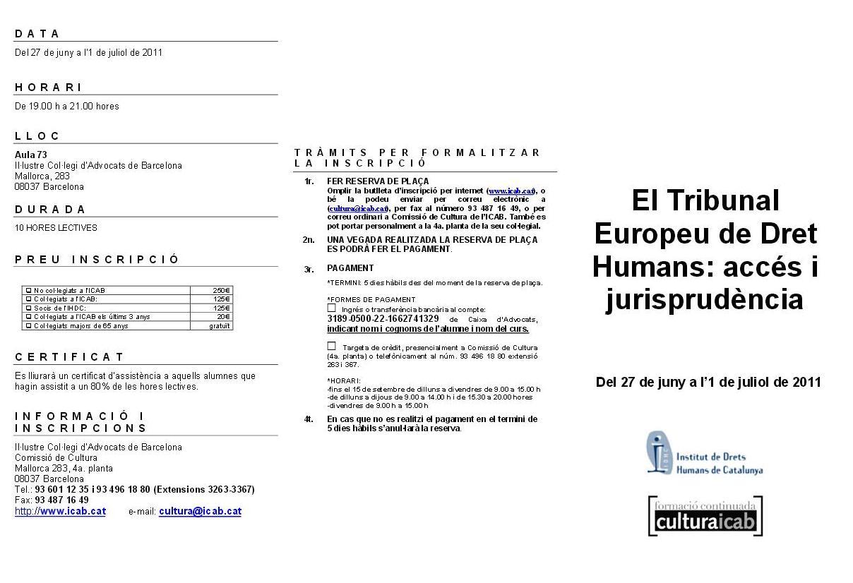 El Tribunal Europeu de Drets Humans: Accés i Jurisprudència