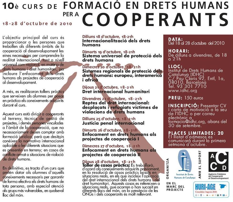 10è Curs de Formació en Drets Humans per a Cooperants