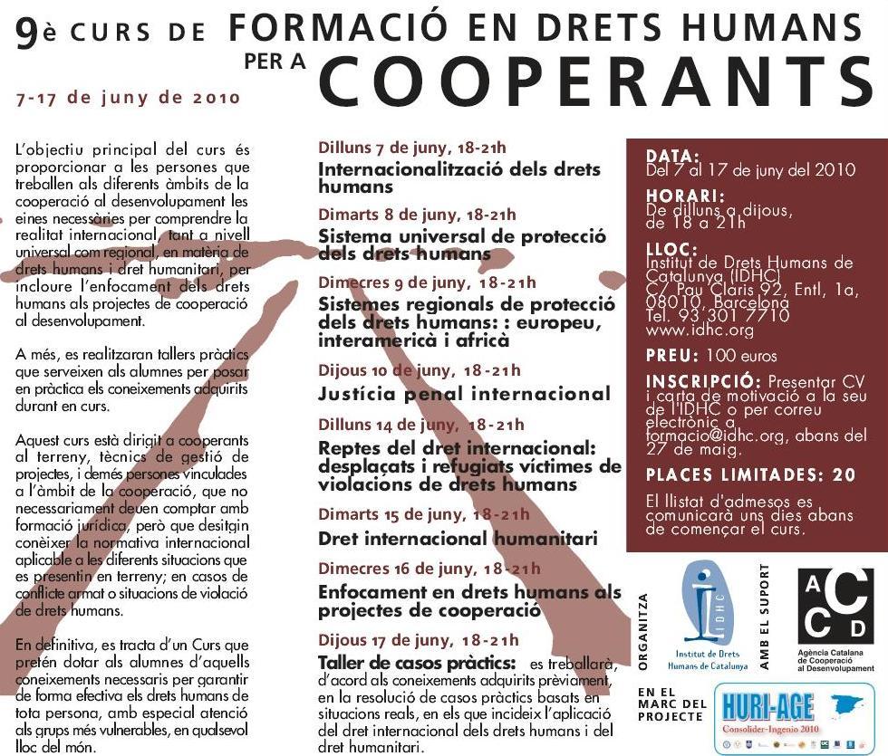9è Curs de Formació en Drets Humans per a Cooperants