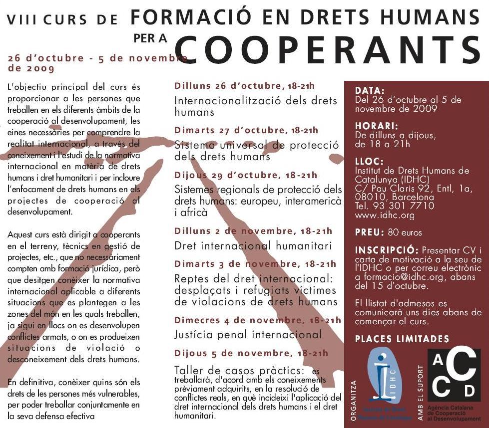 8è Curs de Formació en Drets Humans per a Cooperants