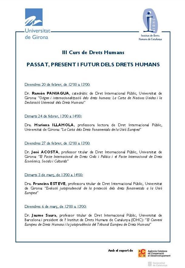 3r Curs de Drets Humans: Passat, Present i Futur dels Drets Humans