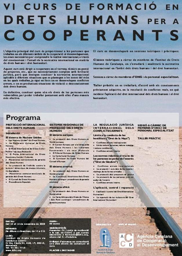6è Curs de Formació en Drets Humans per a Cooperants