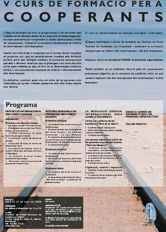 5è Curs de Formació en Drets Humans per a Cooperants
