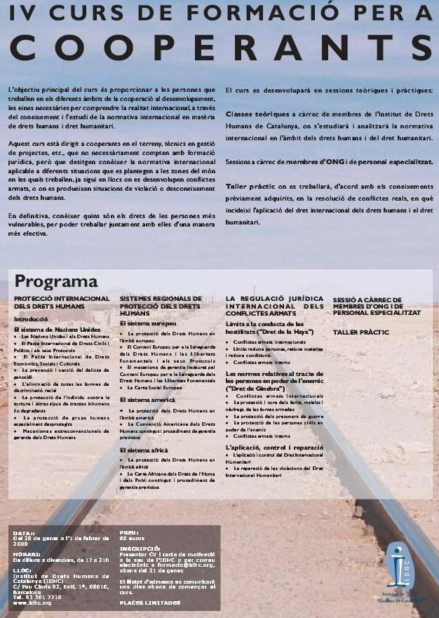 4t Curs de Formació en Drets Humans per a Cooperants