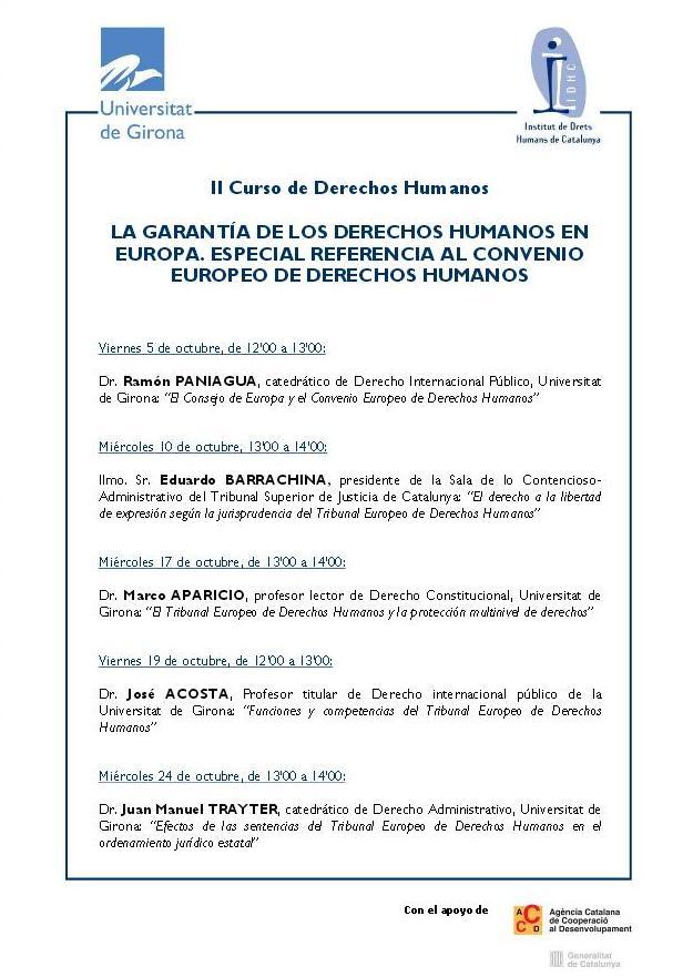 2n Curs de Drets Humans: La Garantia dels Drets Humans a Europa