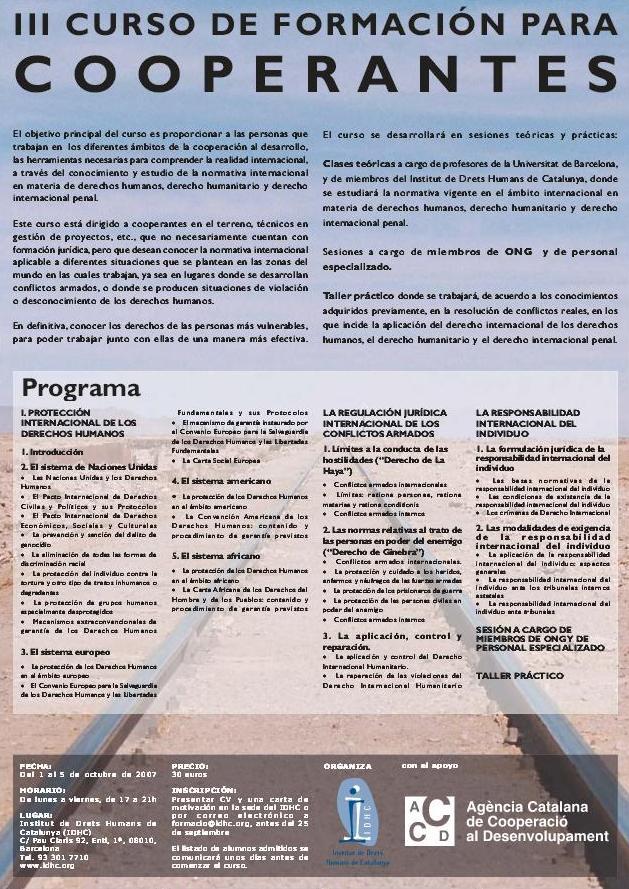 3r Curs de Formació en Drets Humans per a Cooperants