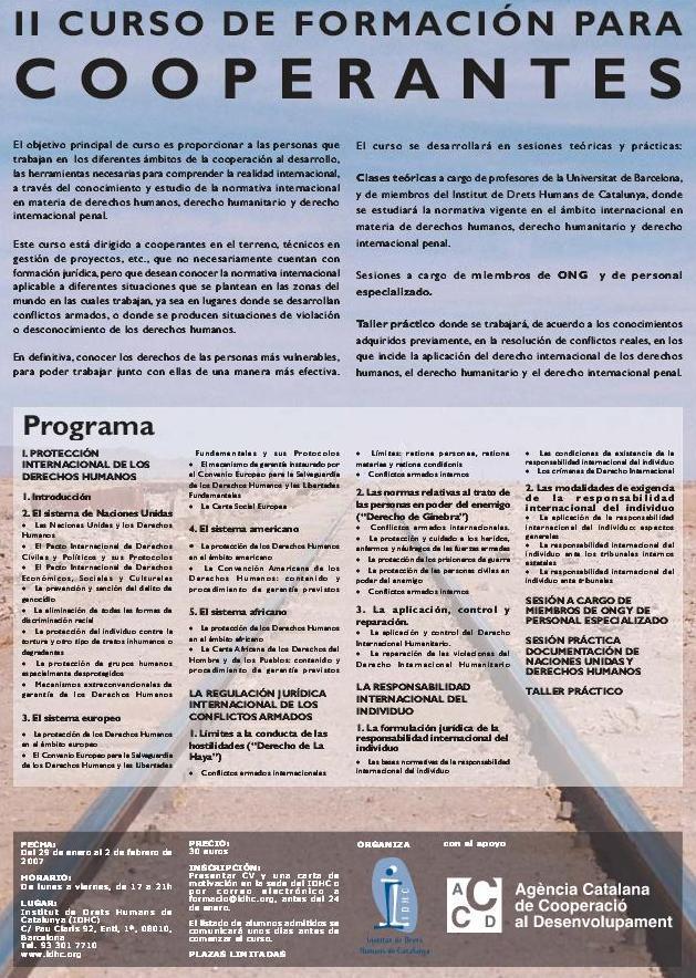 2n Curs de Formació en Drets Humans per a Cooperants