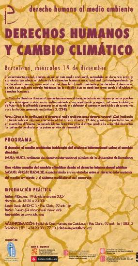 Seminari Taller - El Dret Humà al Medi Ambient: Drets Humans i Canvi Climàtic