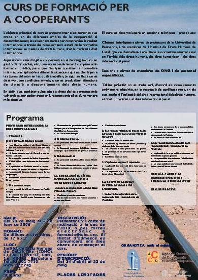 1r Curs de Formació en Drets Humans per a Cooperants