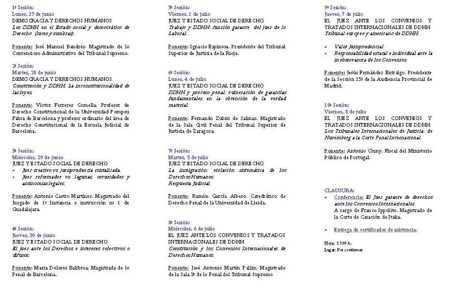 1r Curs de Formació en Drets Humans per a jutges llatinoamericans