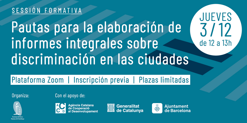 [Sessió formativa] Pautes per a l'elaboració d'informes integrals sobre discriminació a les ciutats
