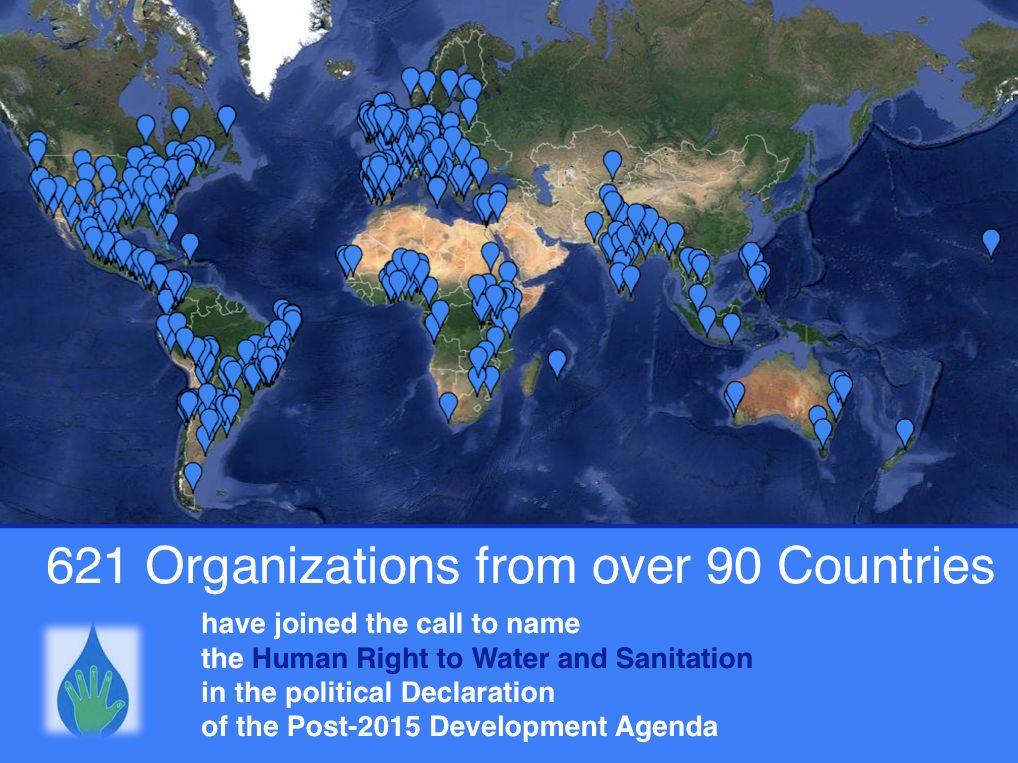 621 Organitzacions de la societat civil fem una crida als Estats membres a nomenar el dret humà a l'aigua i al sanejament a la Declaració política de l'Agenda de Desenvolupament post 2015