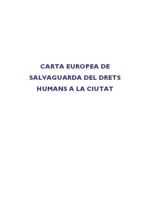 Carta Europea de Salvaguarda de Derechos Humanos a la Ciudad