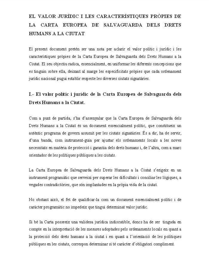 El valor jurídic i les característiques pròpies de la Carta Europea de Salvaguarda dels Drets Humans a la Ciutat