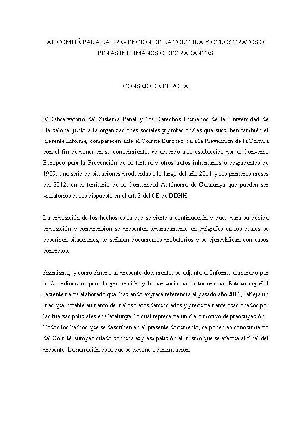 """Informe: """"Criminalització de la dissidència, expansió del sistema penal i situacions d'abús policial com a respostes davant la situació de crisi econòmica a Catalunya"""""""