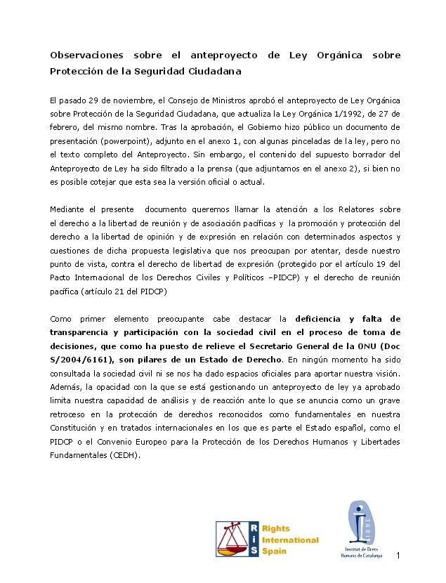 Informe: Observacions sobre l'avantprojecte de Llei Orgànica sobre Protecció de la Seguretat Ciutadana
