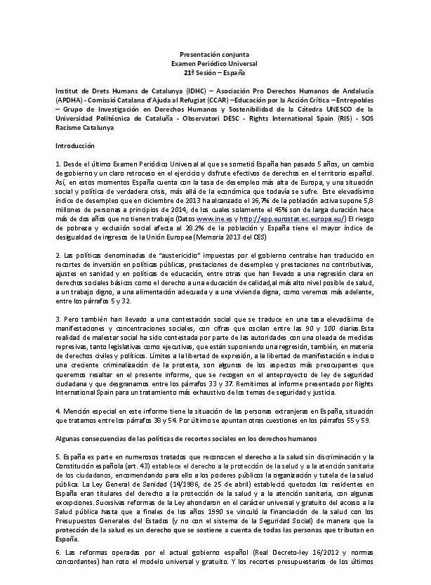 Informe: denúncia dels retrocessos de drets humans a l'estat espanyol. Examen Periòdic Universal