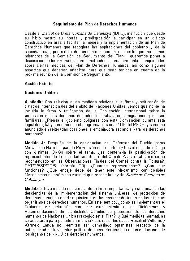 Informe: Comisión de Seguimiento del Plan de Derechos Humanos