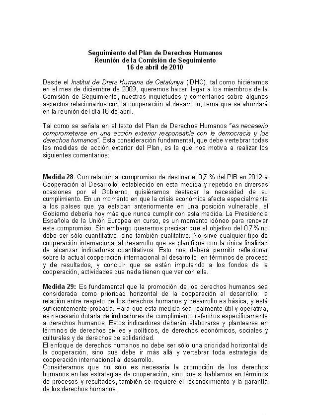 Informe: Seguiment del Pla de Drets Humans