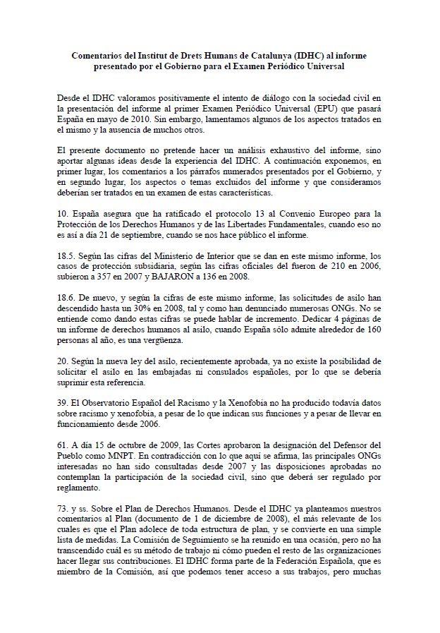 Comentarios del IDHC al primer informe presentado por el Gobierno del estado para el EPU