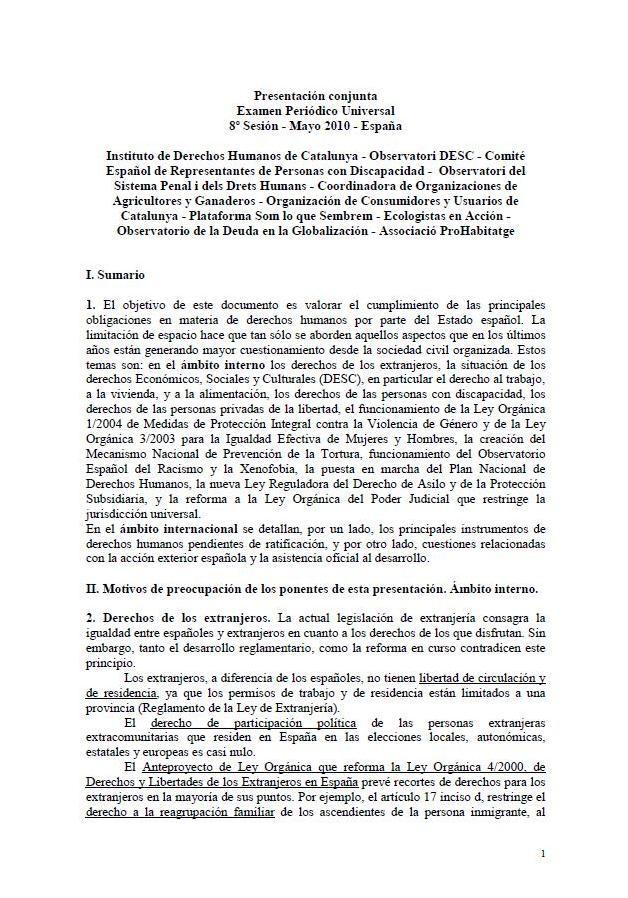 Informe de un grupo de ONG sobre la situación de los derechos humanos en el estado español